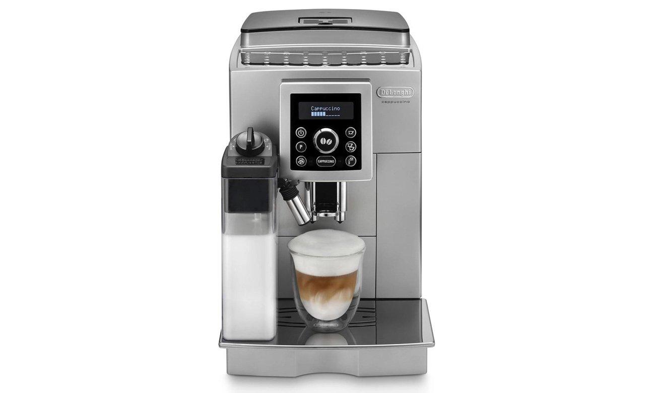 Ekspres do kawy DeLonghi ECAM 23.460.S posiada wyświetlacz LCD oraz zapewnia optymalne ciśnienie parzenia