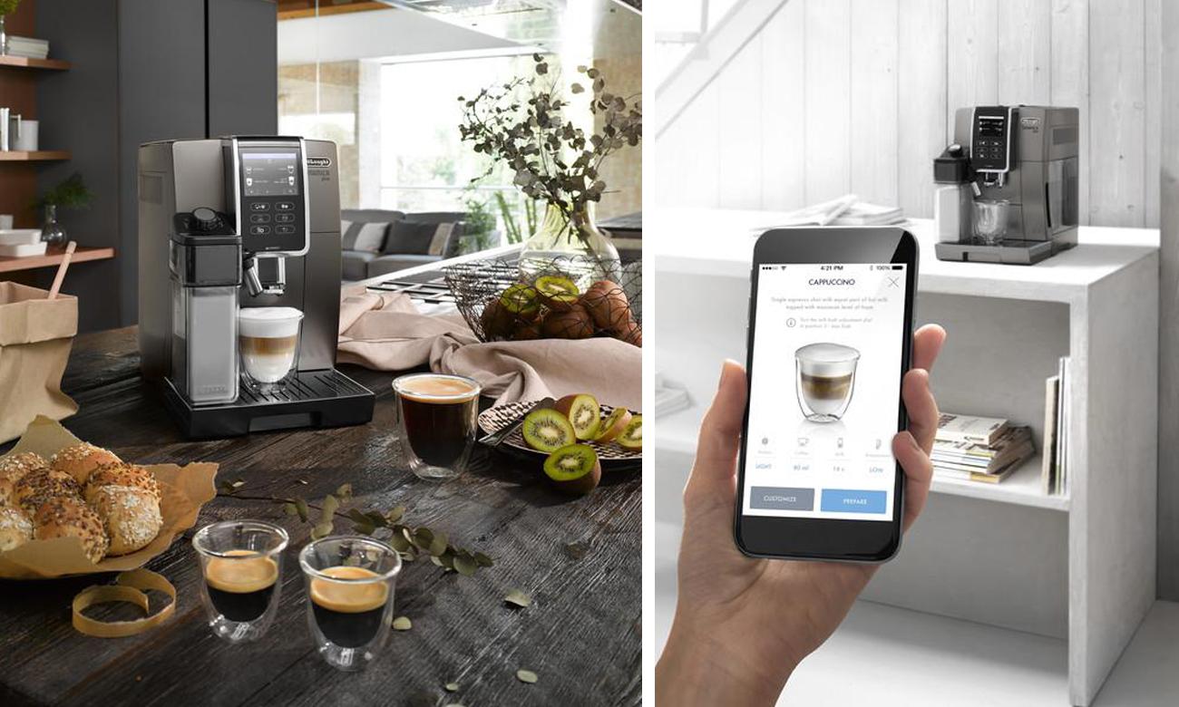 Aplikacja bluetooth Coffee Link w eskpresie Dinamica Plus DeLonghi ECAM 370.95.T umożliwia zdalne sterowanie urządzeniem