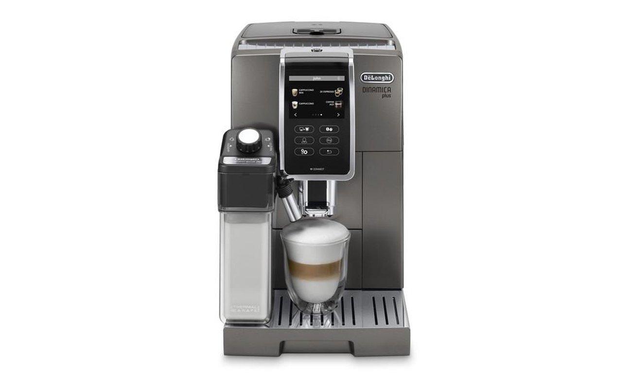 Ekspres do kawy DeLonghi ECAM 370.95.T Dinamica Plus ma młynek stalowy z 13-stopniową regulacją