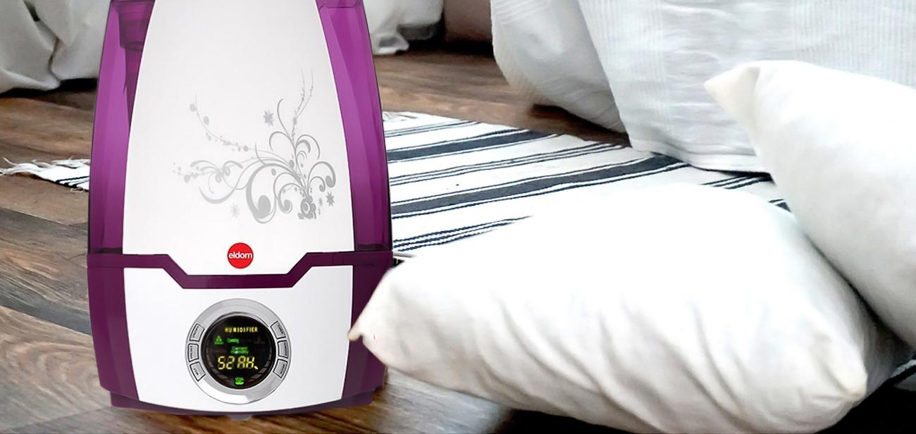 Nawilżacz powietrza Eldom NU5 5,2l biało-fioletowy ultradźwiękowy, z regulacją ilości wytwarzanej pary