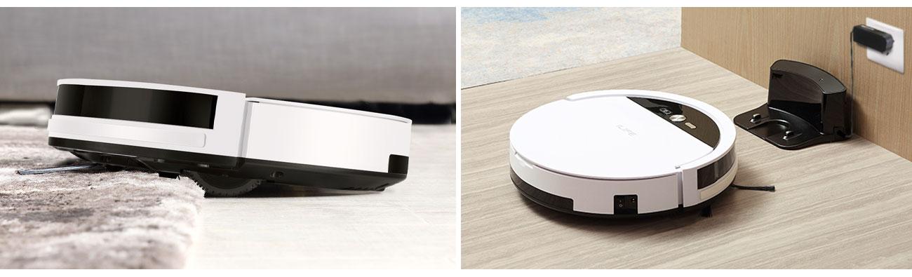 Pojemny akumulator w odkurzaczu Ilife V4 który wjeżdża bez problemu na dywan