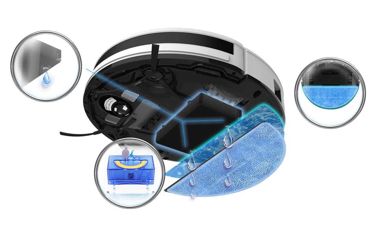 Robot sprzątający Ilife V5s Pro ma ściereczkę z mikrofibry