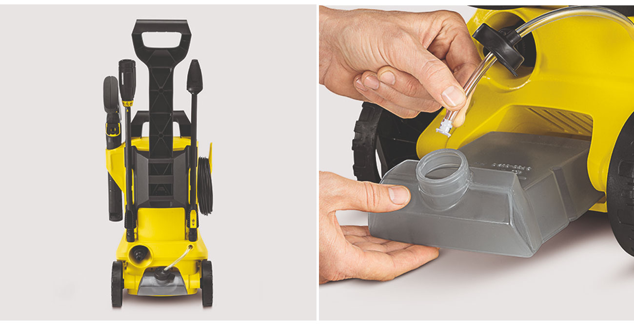 Myjka Karcher K 2 Premium Full Control ma miejsce na akcesoria oraz składany uchwyt