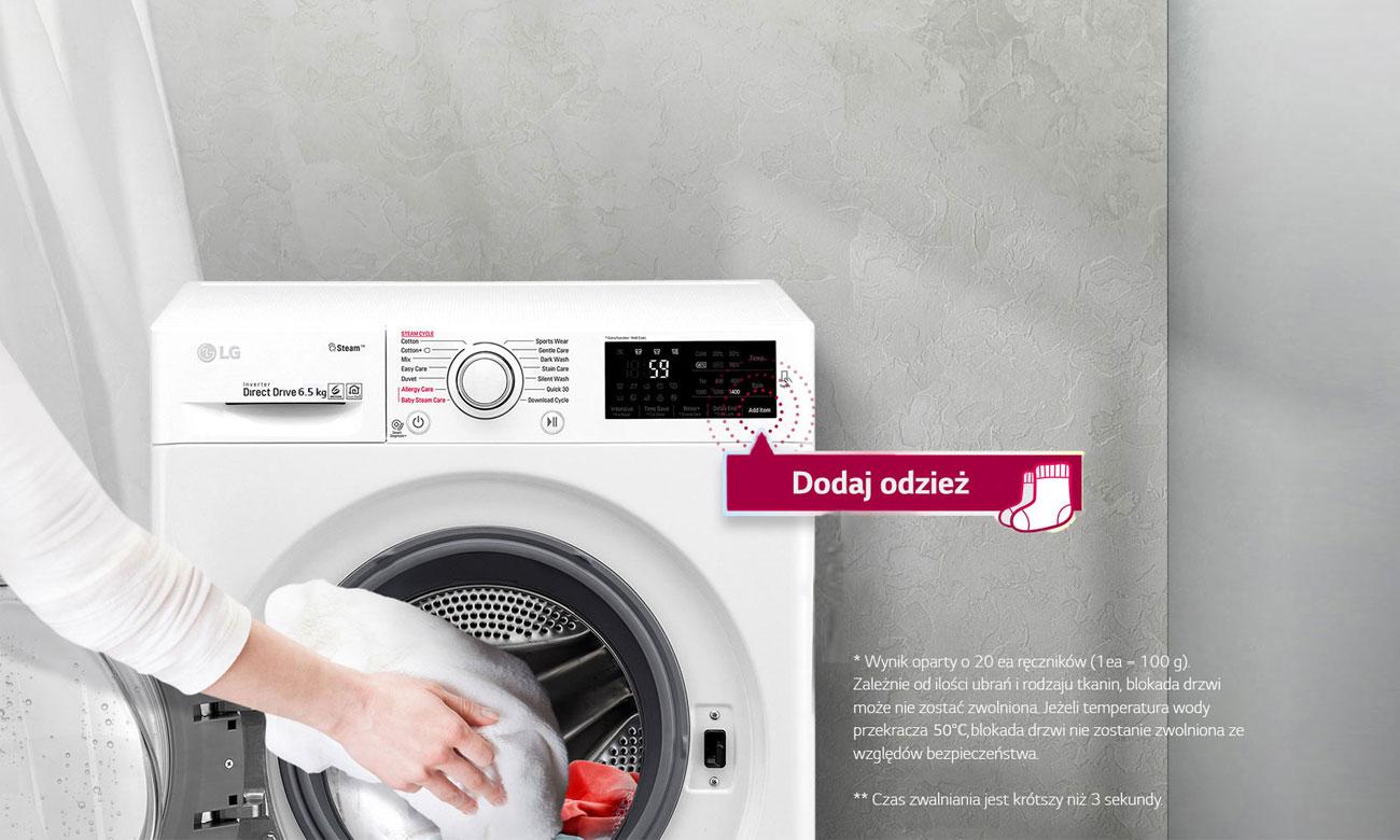 Dołóż ubrania w trakcie prania w pralce LG F0J5WN3W