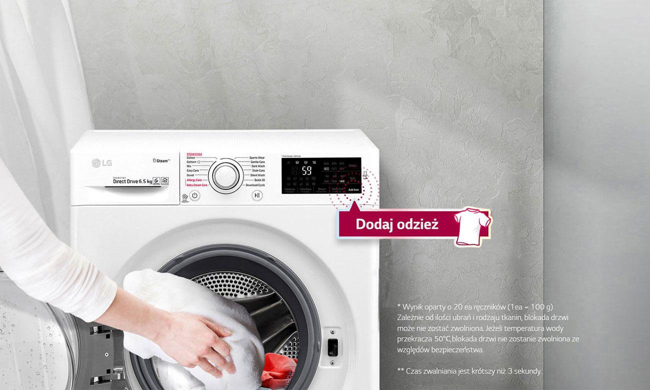 Dodaj ubrania w trakcie prania w pralce LG F2J6QY8S
