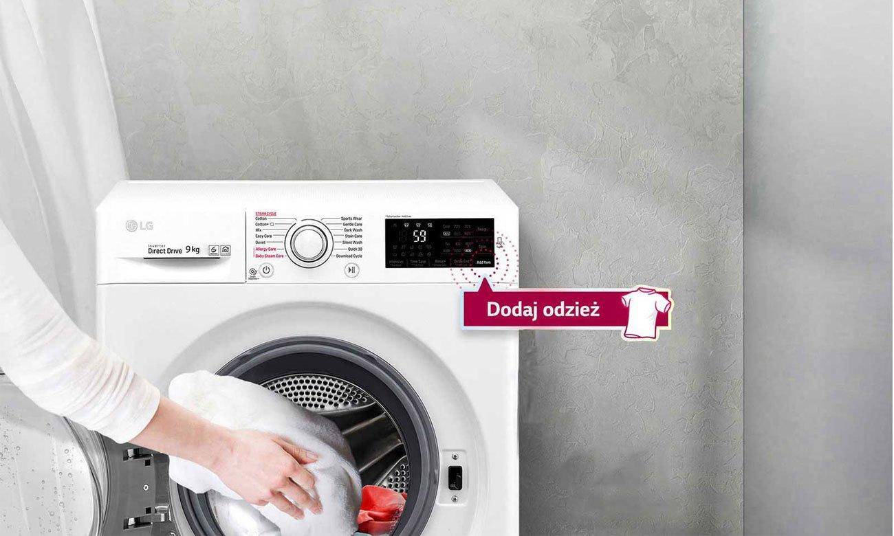 Możliwość dodawania odzieży w trakcie prania w pralko-suszarce LG F2J7HG2W
