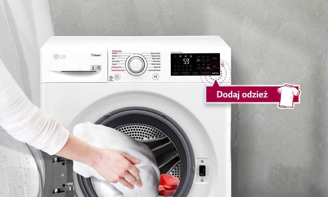 Możliwość dodania odzieży w trakcie prania w LG F4J6VG0W