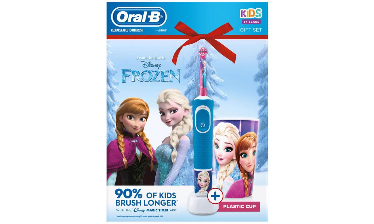 Szczoteczka elektryczna Oral-B D100 Kids Frozen w zestawie z kubkiem