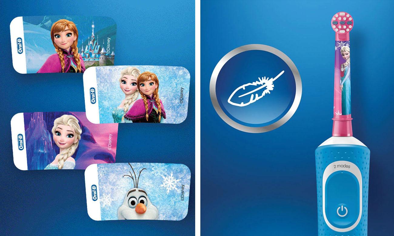 Szczoteczka elektryczna Oral-B D100 Kids Frozen ma wbudowany timer i wydajny akumulator