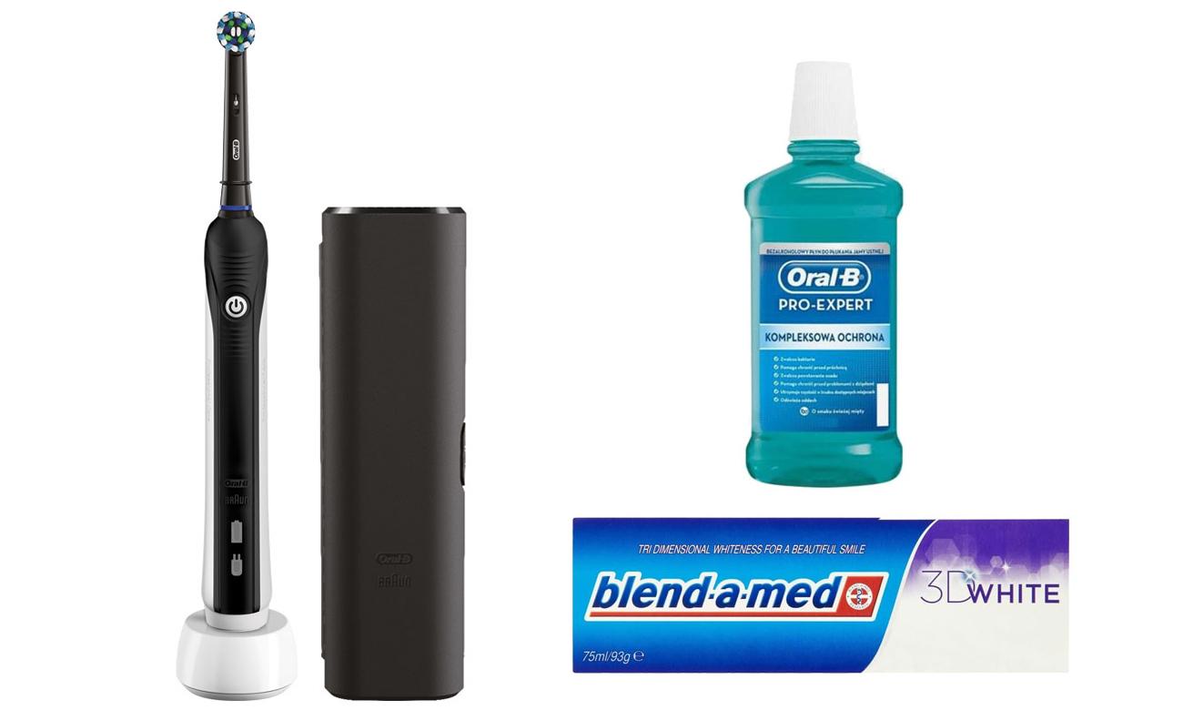 Zestaw Oral-B Szczoteczka Pro 750 Black + Płyn + Pasta
