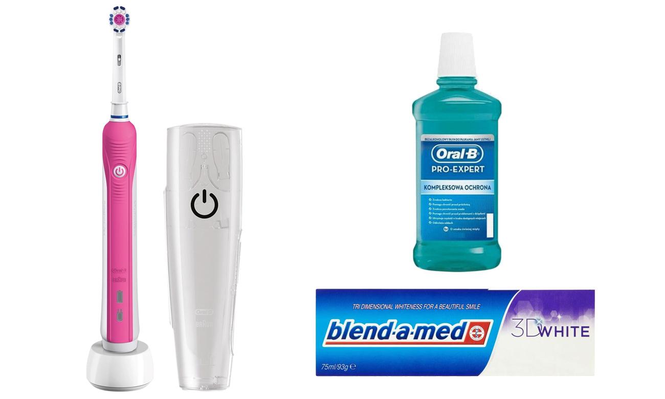 Zestaw Oral-B Szczoteczka Pro 750 Pink + Płyn + Pasta