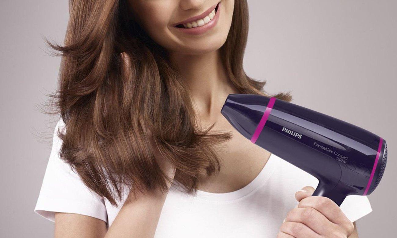Suszarka do włosów Philips HP8116/00 1400W biało-różowa ergonomiczny kształt kompaktowe rozmiary