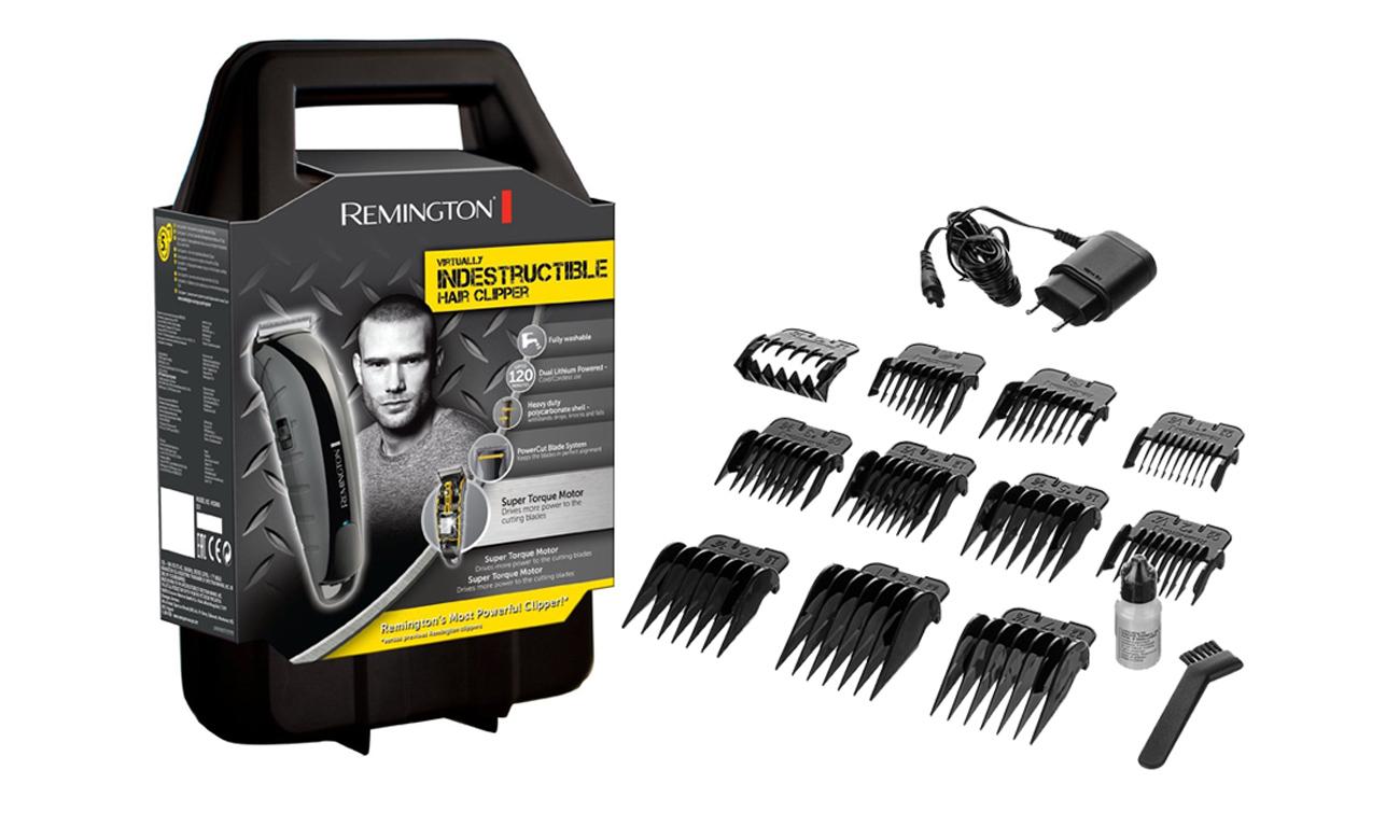 Maszynka do strzyżenia Remington Virtually Indestructible HC5880 szaro-czarna uniwersalna delikatna i bezpieczna dla skóry precyzyjne strzyżenie bogate wyposażenie