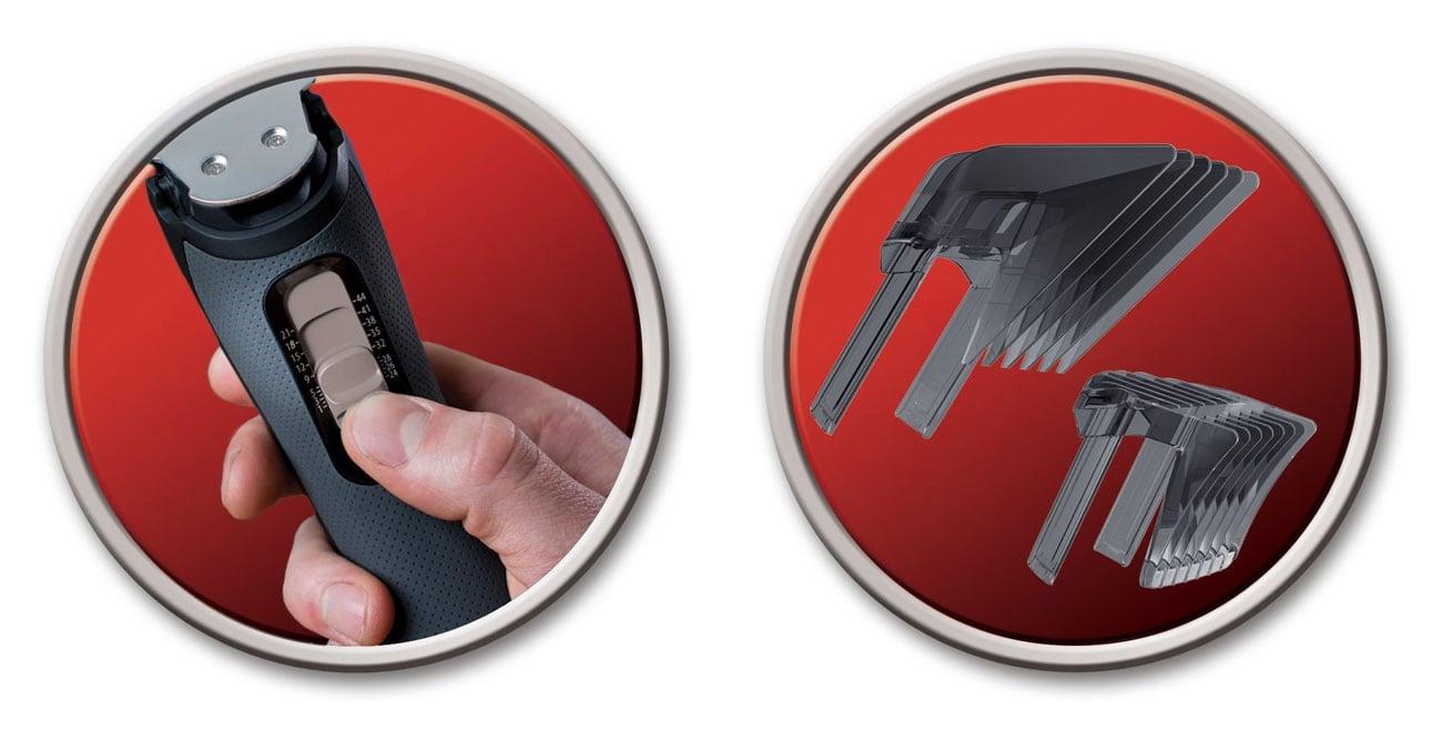 Maszynka do strzyżenia Remington HC7130 ma 2 nakładki grzebieniowe
