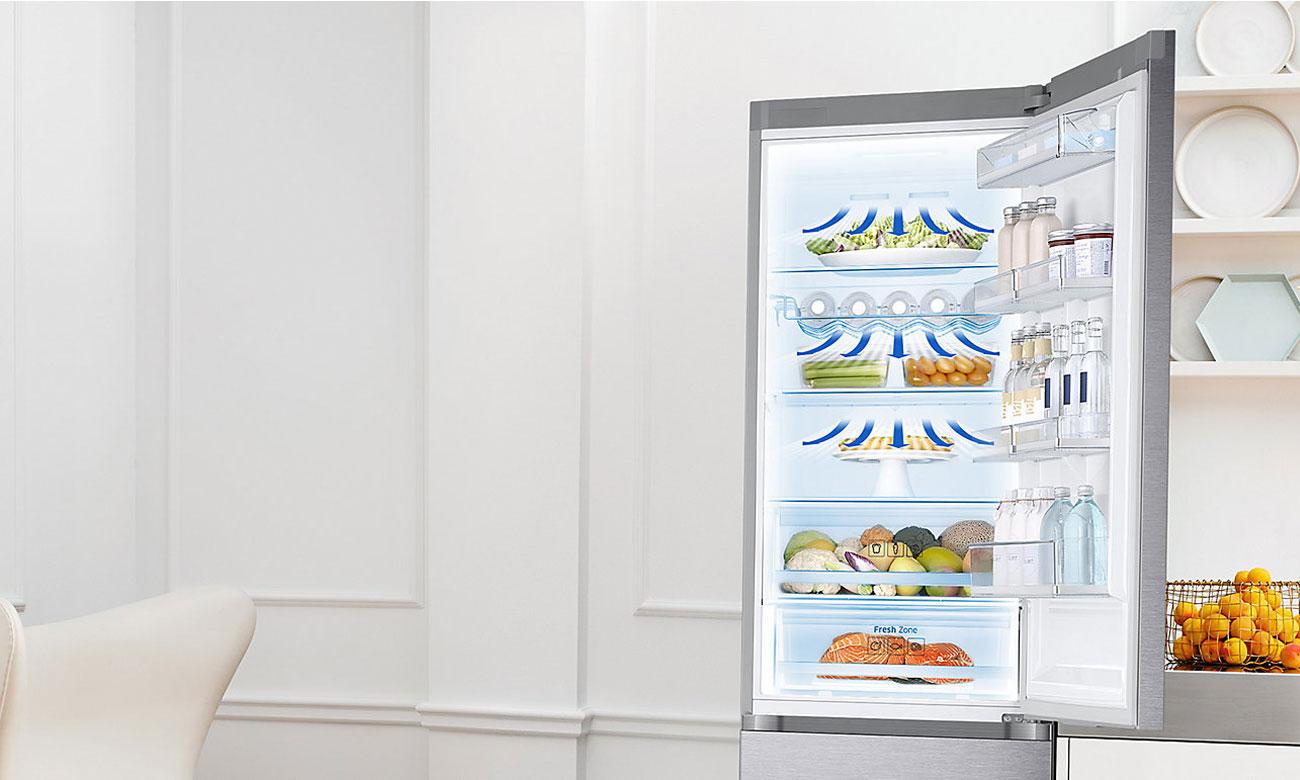 Równomierne rozprowadzanie powietrza, dzięki systemowi All-Around Cooling w lodówce Samsung BRB260034WW