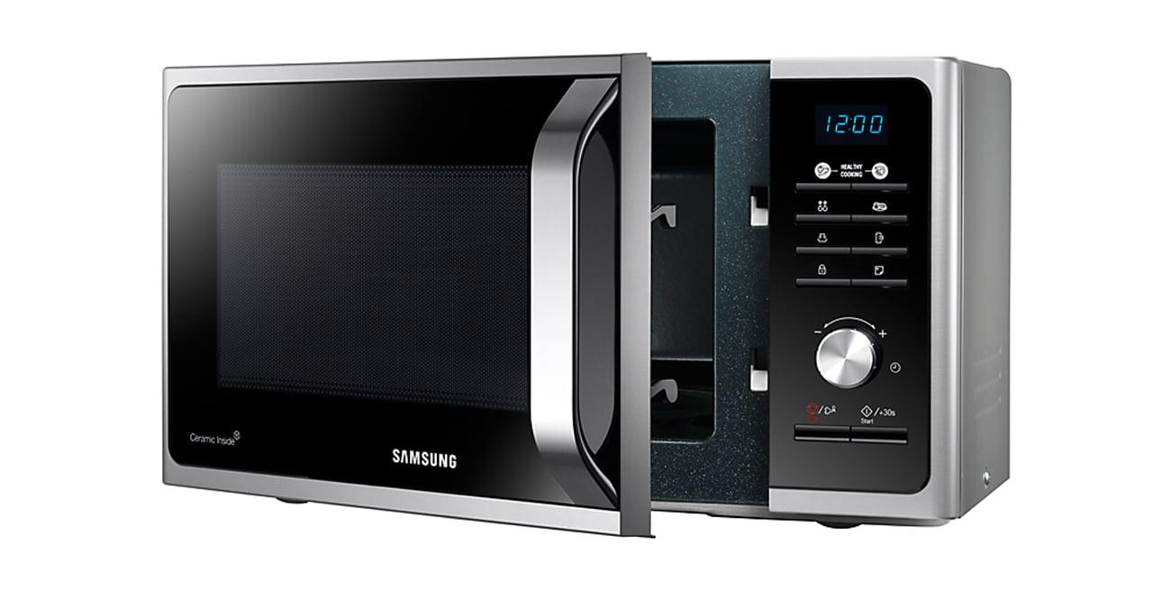 Kuchenka mikrofalowa Samsung MS23F301TAS inox system emisji mikrofal rwnomierne podgrzewanie
