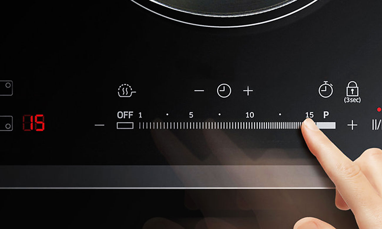 Łatwe kontrolowanie temperatury w płycie indukcyjnej Samsung NZ64H37075K