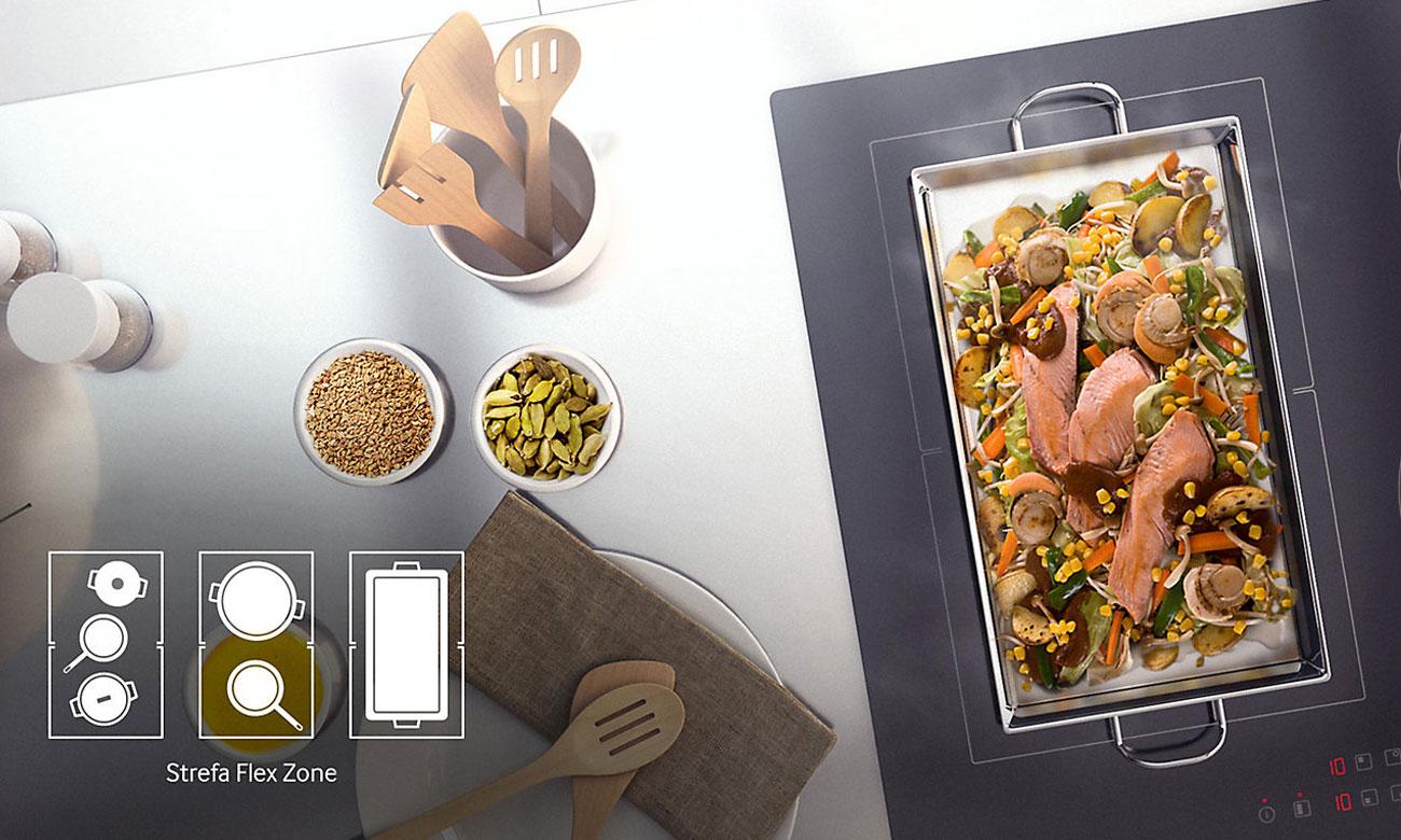 Zwiększona strefa gotowania, dzięki funkcji Flex Zone w płycie indukcyjnej Samsung NZ64H57477K
