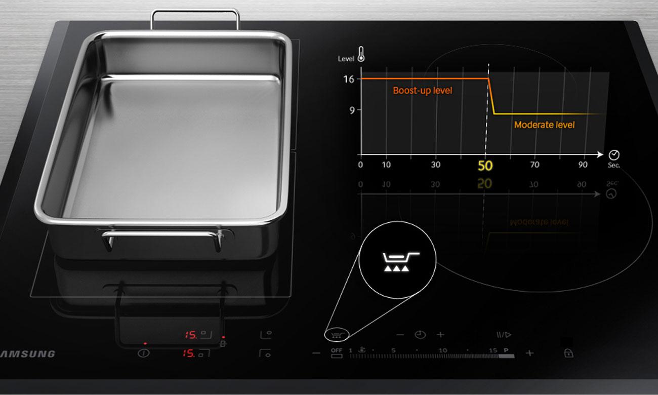 Szybkie podgrzewanie garnków, dzięki funkcji Ready Pan w płycie indukcyjnej Samsung NZ64H57477K