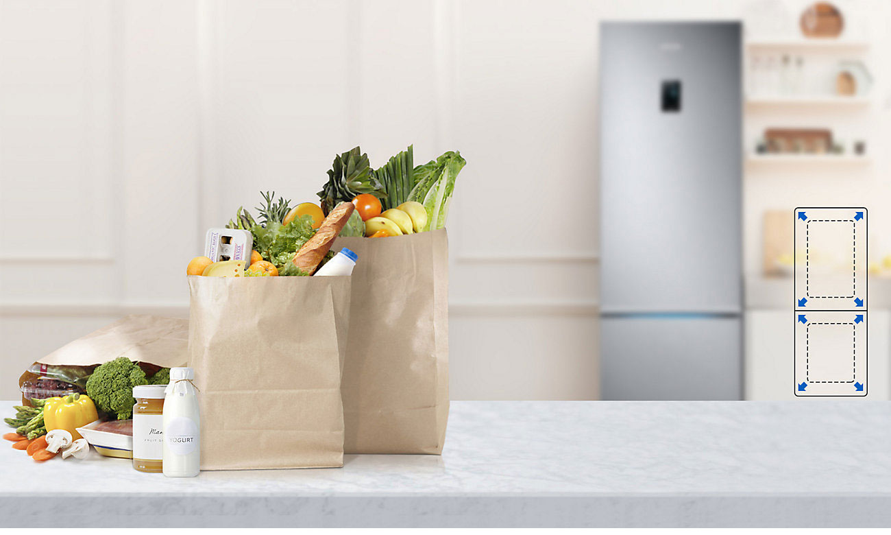 Pomieść dużą ilość produktów spożywczych w lodówce Samsung RB34K6232SS