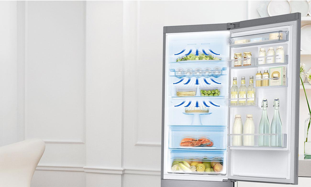 Równomierne chłodzenie, dzięki systemowi All-Around Cooling w lodówce Samsung RB34K6232SS
