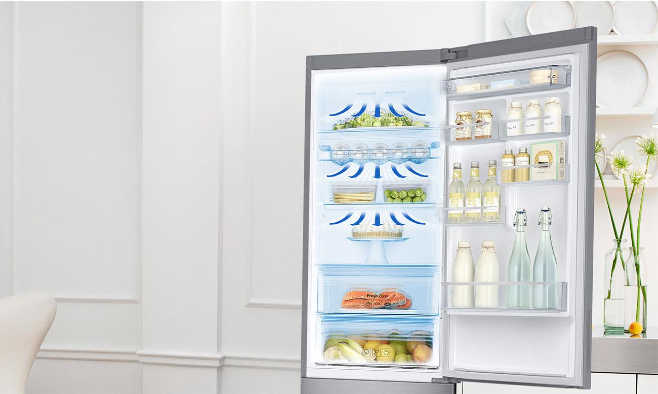 Równomierny obieg chłodnego powietrza, dzięki technologii All-Around Cooling w lodówce Samsung RB37K63602C