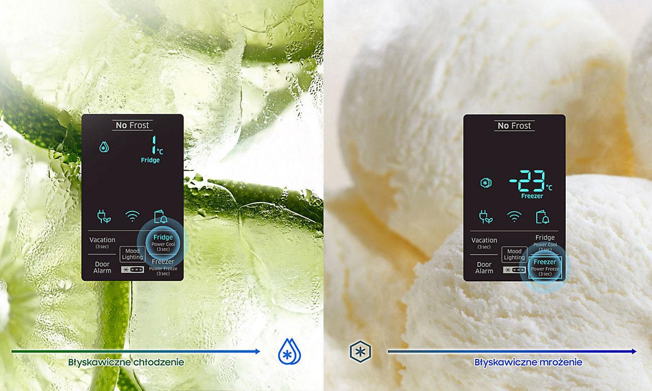 Funkcja szybkiego chłodzenia i mrożenia w lodówce Samsung RB37K63602C