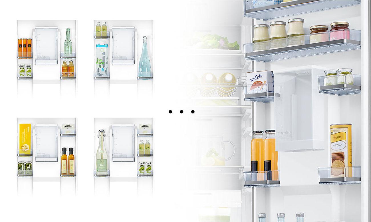 Możliwość pomieszczenia dużych produktów, dzięki rozwiązaniu Adjustable Door Bin w lodówce Samsung RR39M7320S9