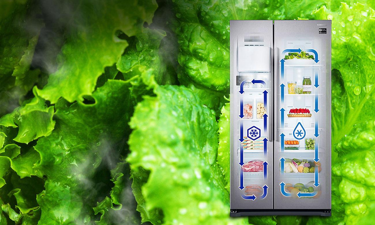 Świeże jedzenie, dzięki technologi Twin Cooling w lodówce Samsung RS51K54F02C