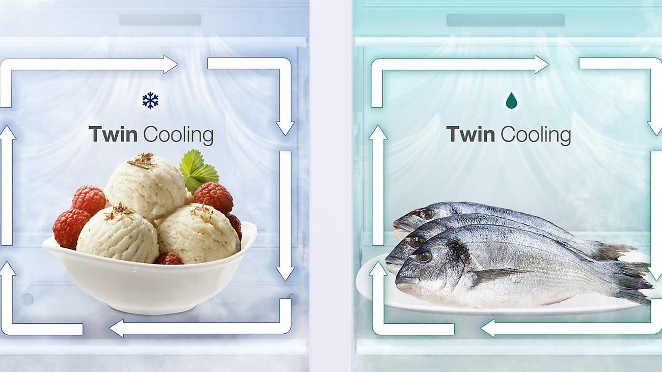 Naturalna świeżość z zamrażarki w Samsung RS51K57H02C dzięki Twin Cooling