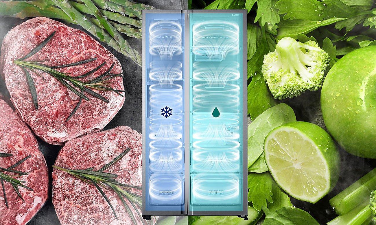 Równomierne chłodzenie, dzięki technologii Multi Flow w lodówce Samsung RS7528THCSP