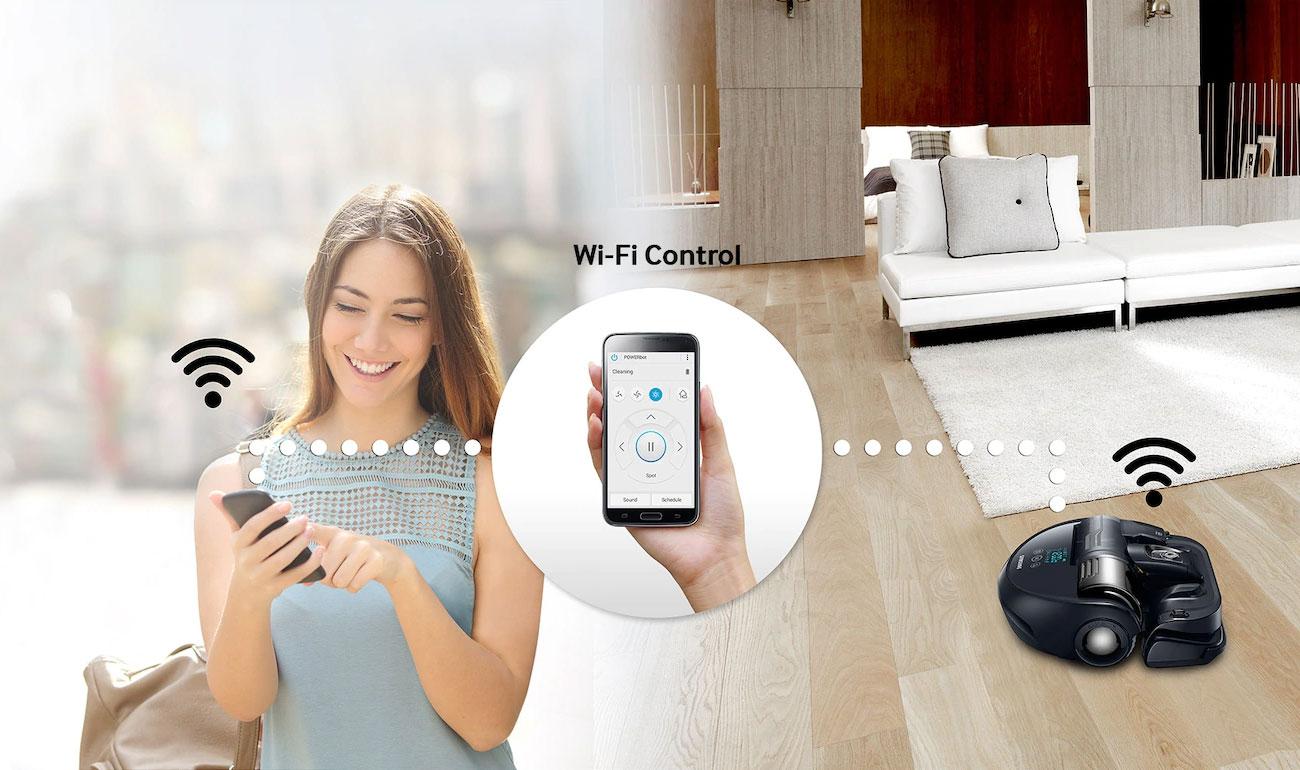 Sterowanie odkurzaczem Samsung VR20K9350WK za pomocą telefonu