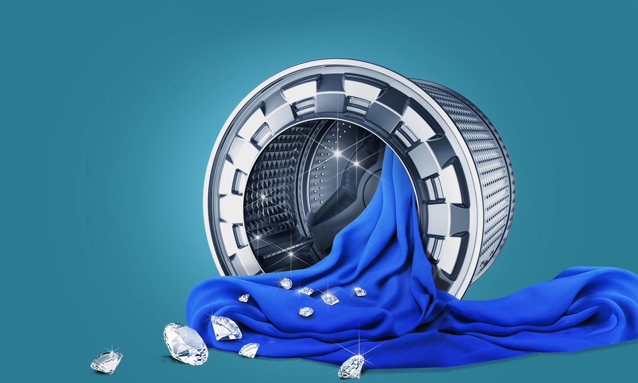 Ochrona tkanin, dzięki technologi Diamond Drum w pralko-suszarce Samsung WD70J5410AW