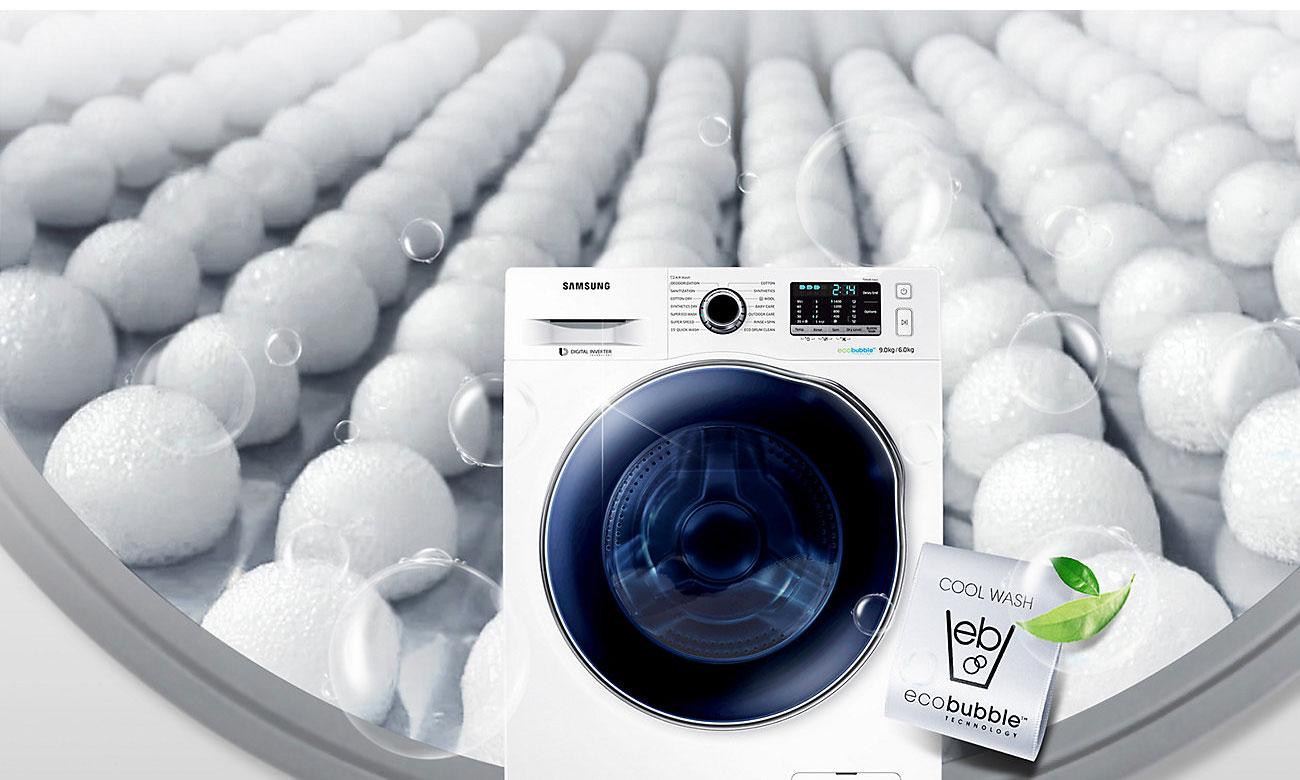 Pierz na zimno, dzięki technologii Eco Bubble w pralko-suszarce Samsung WD70J5410AW