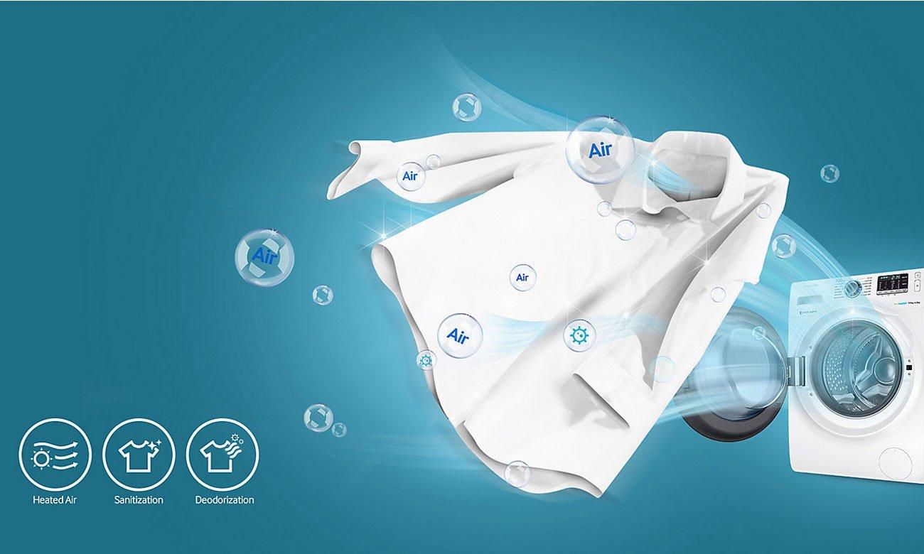 Czyszczenie ubrań gorącym powietrzem w pralko-suszarce Samsung WD70J5410AW