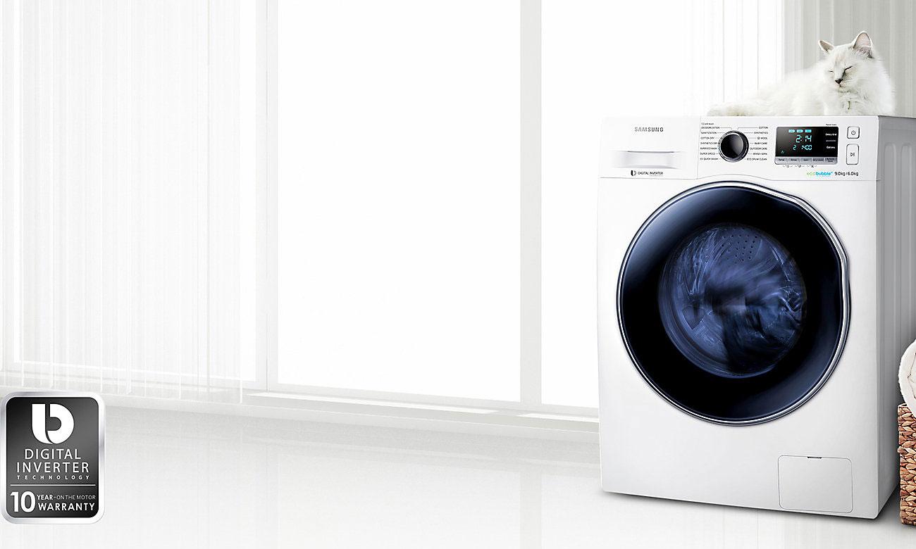 Wydajny i wytrzynały silnik Digital Inverter w pralce Smsung WD80J6410AX