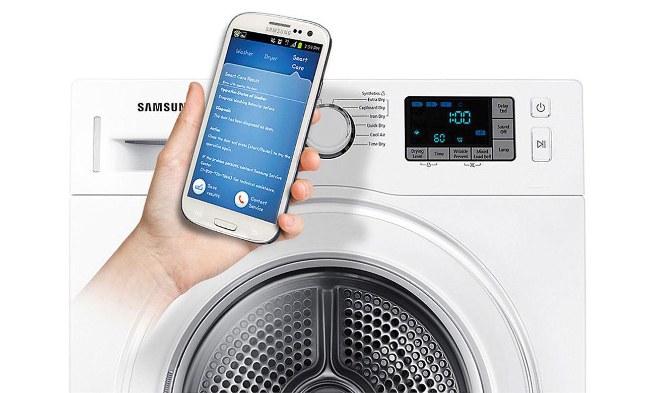 System kontroli usterek, dzięki technologii Smart Chech w pralko-suszarce Samsung WD80K5A10OW