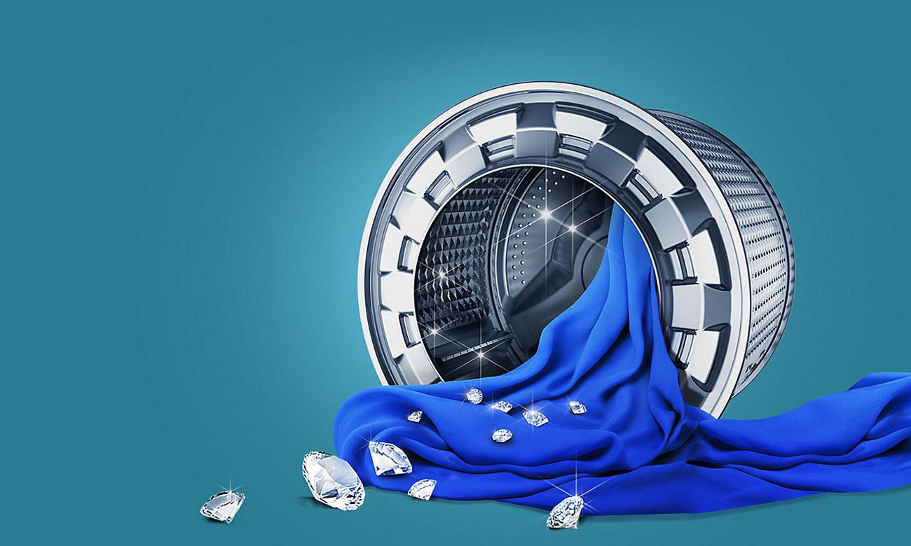 Ochrona tkanin, dzięki technologii Diamond Drum w pralce Samsung WF60F4EEW2W