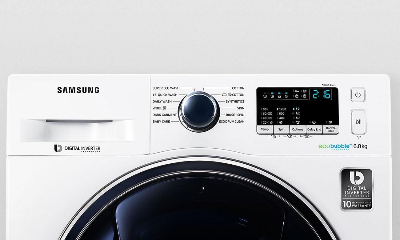 Wydajny silnik Digital Inverter w pralce Samsung WW60K42138W