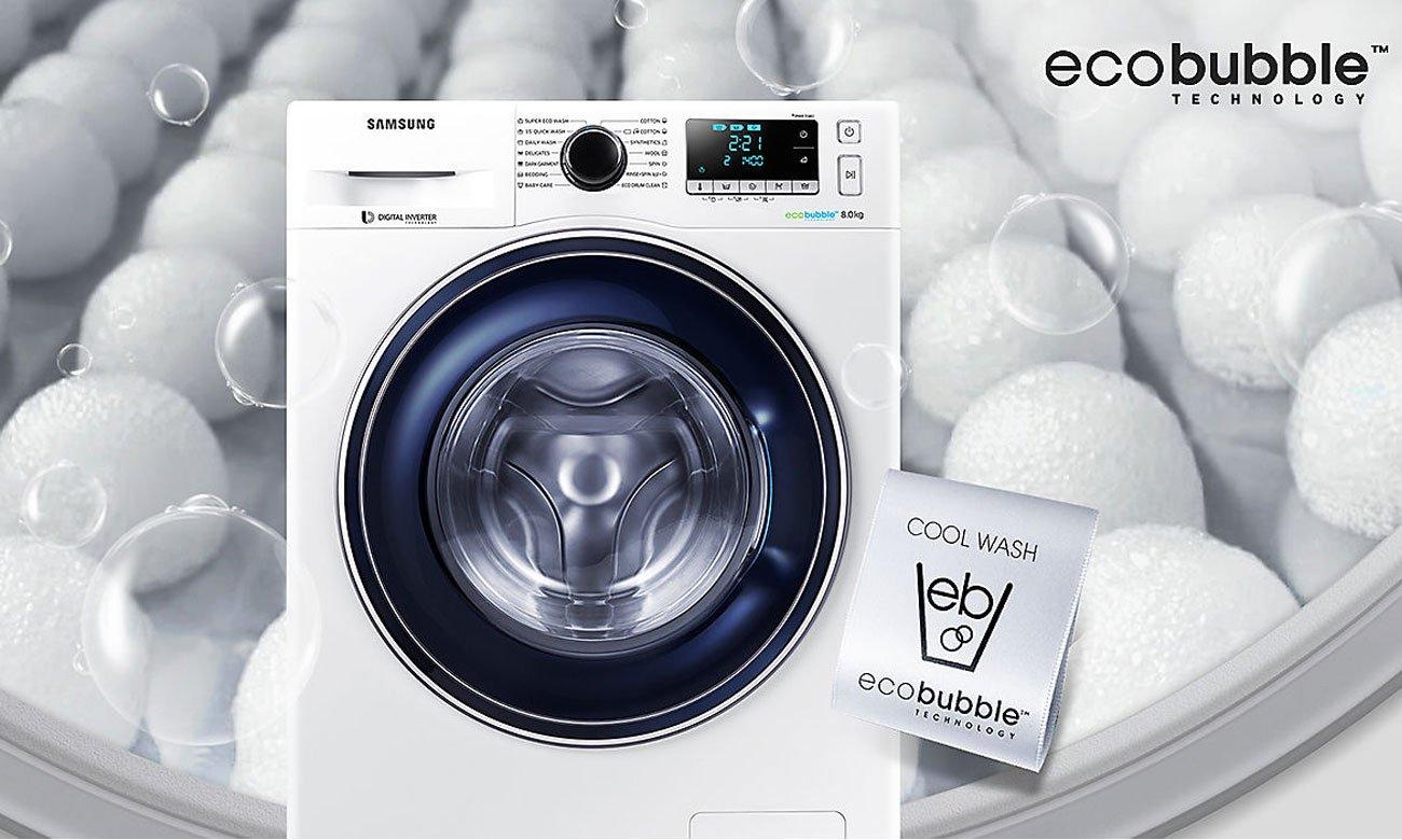Skuteczna ochrona ubrań oraz oszczędność energii, dzięki technologii Eco Bubble w pralce Samsung WW70J5346FW