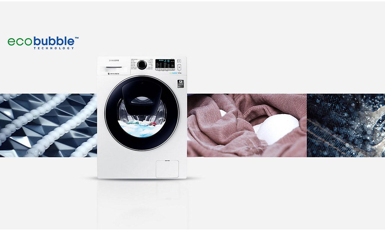 Skuteczność piany, dzięki technologii Eco Bubble w pralce Samsung WW70K5210XW