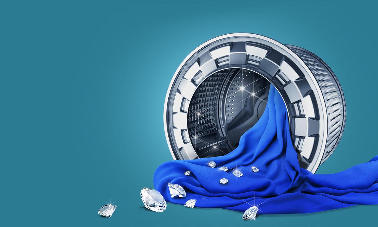 Opływowy kształt bębna Diamond w pralce Samsung WW70K5210XW