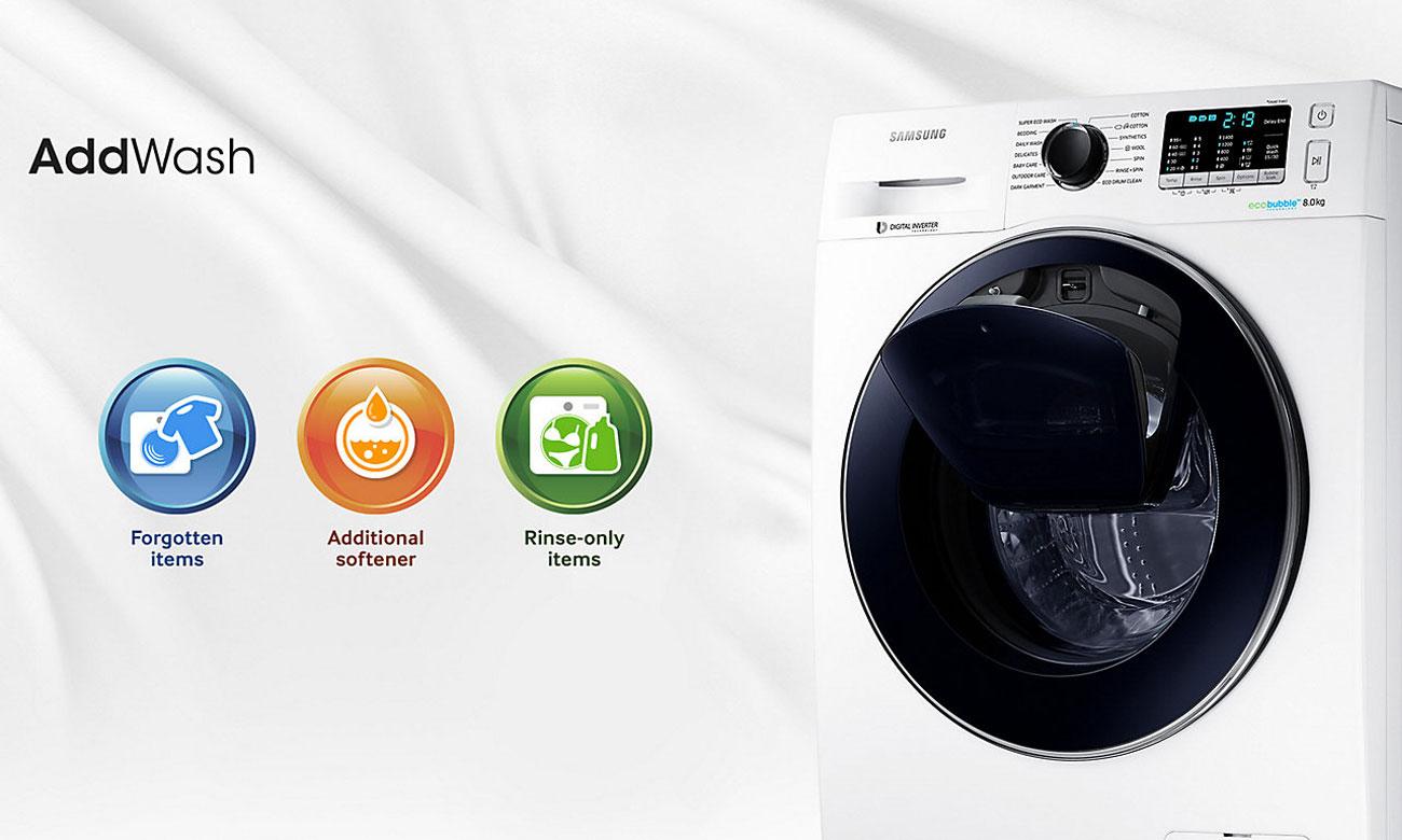 Dodaj ubrania w trakcie prania poprzez drzwi AddWash w pralce Samsung WW80K5410UW