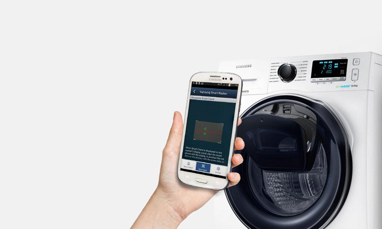 Łatwe rozwiązywanie problemów, dzięki systemowi Smart Check w pralce Samsung WW80K5410UW