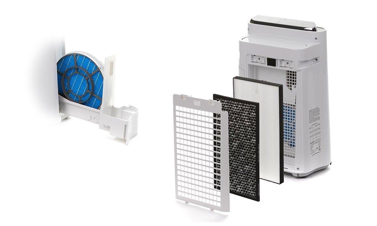 Oczyszczacz powietrza Sharp KC-D60EUW zapewnia wieloetapowy system filtracji
