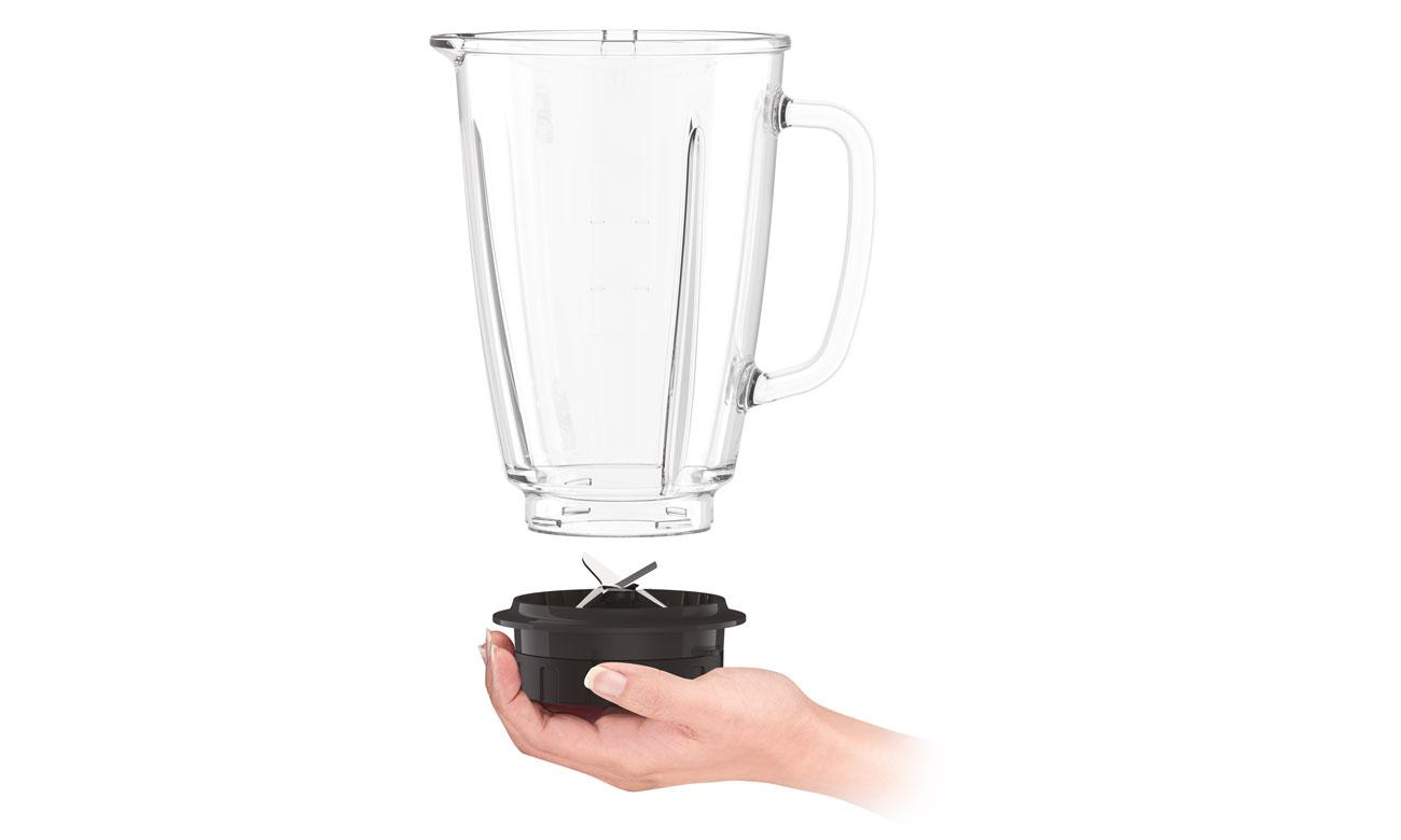 Blender kielichowy Tefal Blendforce BL435831 ma szklany kielich i miarkę wewnątrz