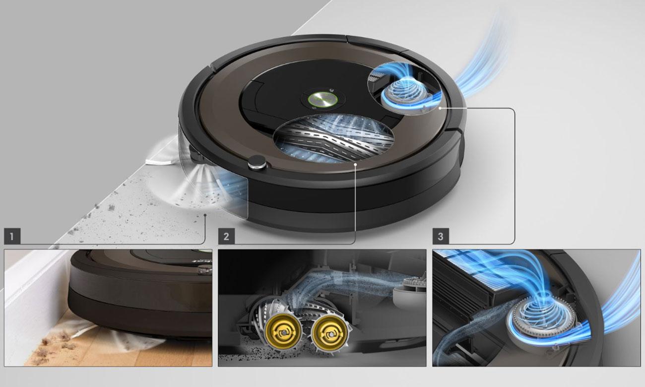 Robot sprzątający iRobot Roomba 896 sprząta przy krawędziach i w narożnikach