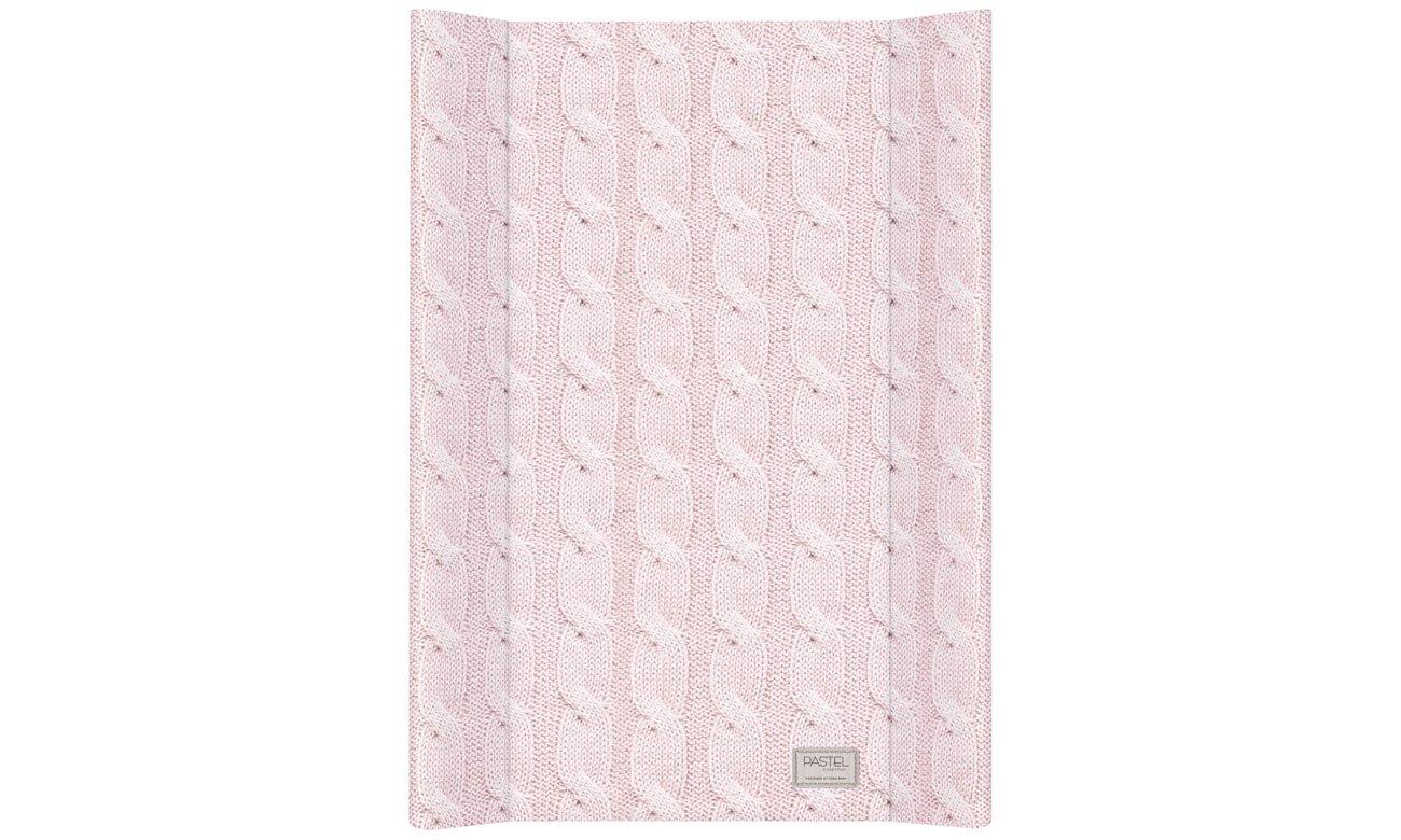 Ceba Baby przewijak twardy krótki 50x70 Pastel Collection Cable Stitch różowy