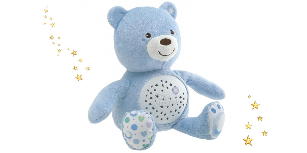 Chicco Miś z projektorem niebieski 8058664060368 z pozytywką