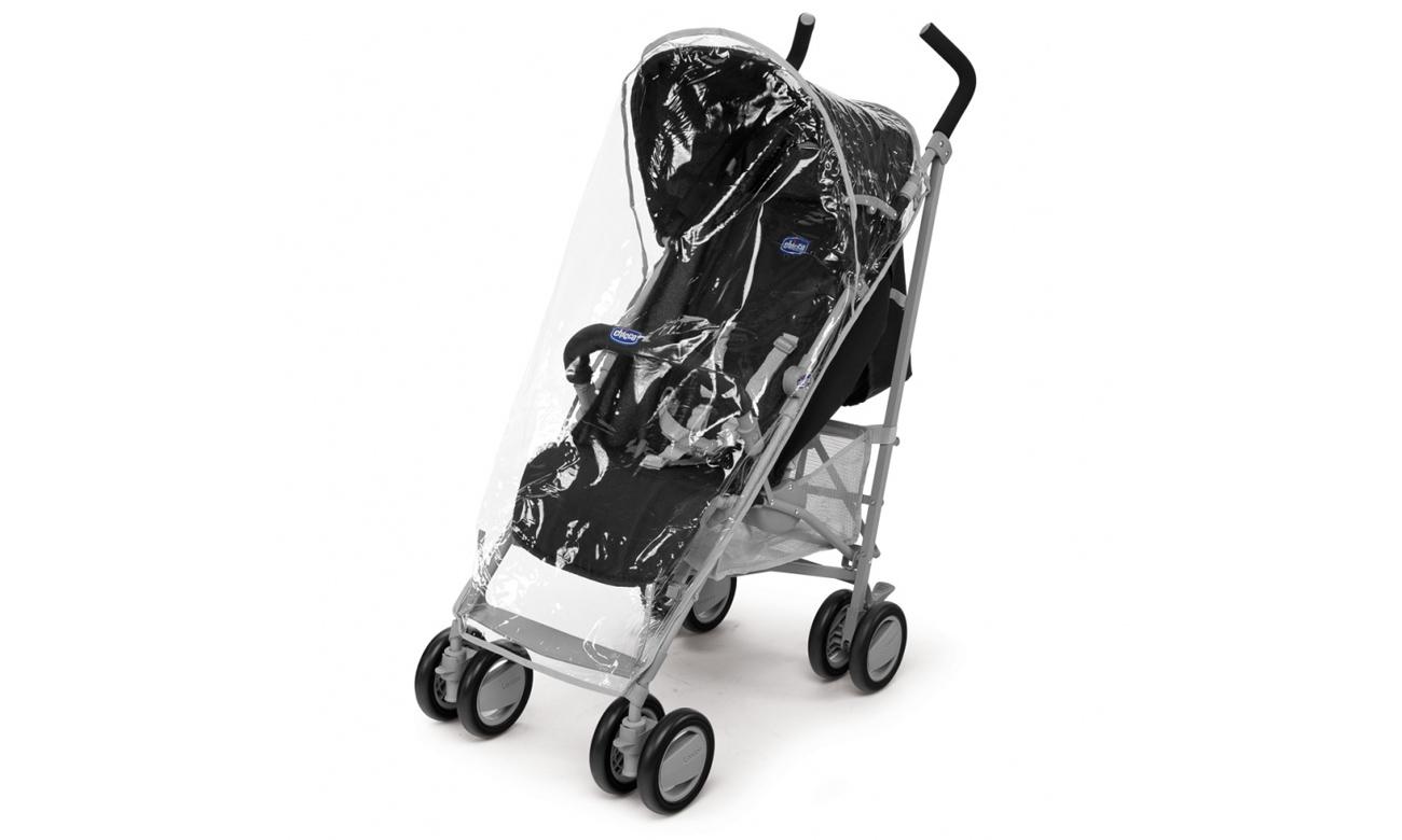 Wózek spacerowy Chicco London z pałąkiem posiada okrycie przeciwdeszczowe
